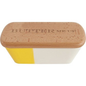 Talisman Designs Stoneware Butter Dish with Beechwood Lid, Laser Etched with Butter Me Up