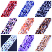 9 strands Mix Wholesale Gravel Chips Shape 5mm-8mm Natural Stone Semi Precious Gemstone Beads For Jewellery Making Agate Diy Bracelet Necklace Strand 35""