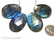 4 pcs LABRADORITE 30mm Faceted Oval Beads AAA NATURAL /P11