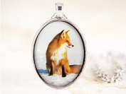 Red Fox Necklace - Sitting Fox Pendant, Silver Fox Jewellery, Fox Animal Necklace, Silver Fox Necklace, Animal Photography, Animal Jewellery