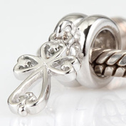 Filigree Heart Cross Charm 925 Sterling Silver Dangle Faith Bead For Pandora Charm Bracelets
