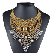 Lanue Vintage Crystal Zinc Alloy Pendant Bib Chain Statement Necklace Bohemian Jewellery for Women