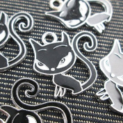Black Cat Charm Silver Plated, Enamelled Qty.6