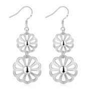 EUBUY Silver Plated Copper French Earring Hook Earwires Jewellery with Round Flower Dangle