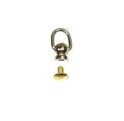 0.6cm Ball Post with 1cm Dee Ring D-Ring - Rivet Back - 10 Pack