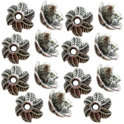 Heather's cf 90 Pieces Silver Tone 6 Leaves Beads Caps Findings Fit 12mm Round Beads Jewellery Making 10mm …