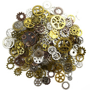 Aokbean 150 Gramme Assorted Vintage Mixed Colour Metal Steampunk Jewellery Making Charms Cog Watch Wheel