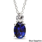 Shraddha Shree Gems Certified Natural Blue Sapphire and Diamond Pendant in 925 sterling Silver .