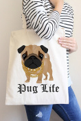 Pug Life Tote Bag in Natural Colour