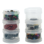Storage Container Impact Resistant Stackable Clear Containers 6 For Beads Crafts Findings Small Items 4.4cm Round