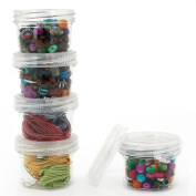 Storage Containers Stackable Interlocking Detachable 5 For Beads Crafts Medicine Small Items 5.1cm Round