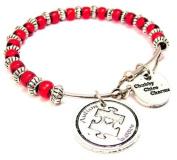 Autism Awareness Red Beaded Adjustable Bangle Charm Bracelet