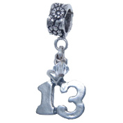 Thirteen, 13, April Crystal Birthstone Sterling Silver Dangle Charm