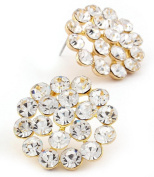 Designer Look Blossom Bridal Crystal Earrings and W Gold Tone