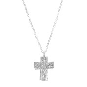 Spinningdaisy Silver Plated Two Piece Cross Strand Necklace