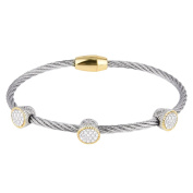 Pavé Cubic Zirconia Circles Twisted Wire Bangle