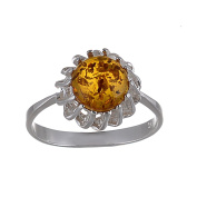 """Sterling Silver and Baltic Honey Amber Ring """"Megan"""""""