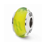 Top 10 Jewellery Gift Sterling Silver Reflections Yellow/Green Scribbles Hand-blown Glass Bead