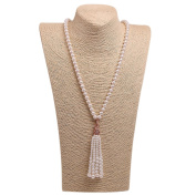 Romantic Time long Tassels White Bead Pearl Link Tiger Pendant Necklace