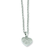 Sterling Silver & Cz Brilliant Embers Polished Heart Necklace W/2ext.