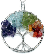 Tree of Life Mixed Gemstone Necklace Best Friend Colourful Silver Pendant Aquamarine Amethyst Onyx 2 Chain