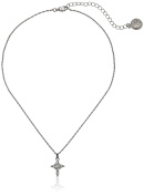 The Vatican Library Collection Silver-Tone Crystal Cross Pendant Necklace, 41cm