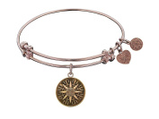 """Angelica Collection Antique Smooth Finish Brass """"compass"""" Expandable Bangle"""