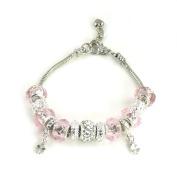 Athena Jewellery Murano Glass Bead Pink Snake Chain Bracelet