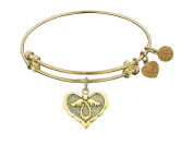 """Angelica Collection Antique Stipple Finish Brass """"angel"""" Expandable Bangle"""