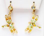Kirks Folly Dreamer Dragonfly Leverback Piereced Earrings goldtone