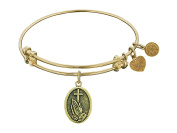 """Angelica Collection Antique Stipple Finish Brass """"faith"""" Expandable Bangle"""