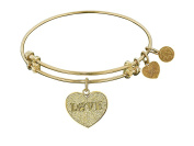 """Angelica Collection Non-antique Stipple Finish Brass """"love W/ Paw"""" Expandable Bangle"""