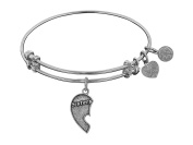 """Angelica Collection Antique Stipple Finish Brass Left-half Heart """"sisters"""" Expandable Bangle"""