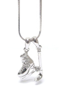 Lola Bella Gifts Crystal Ice Hockey Pendant Necklace with Gift Box