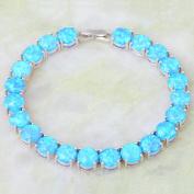 Silver Blue Fire Opal Bracelets & bangles for teen girls pulseiras femininas 19.5cm 7.67 inch B467