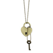 Gold Metal Heart Lock & Key Necklace
