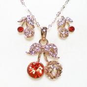 Fashion Jewellery - 18K Rose Gold Plated Cherry Set