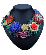 Easting Womens Acrylic 3D Crystal Flowers Big Costume Jewellery Chain Charm Necklace
