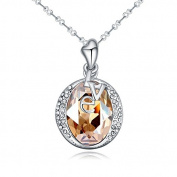 Jewistic Crystal Golden Shadow Love Rhodium-Plated Necklace Made with Elements 5L50080