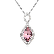Jewistic Crystal Antique Pink Vintage Rhodium-Plated Necklace Made with Elements 5L50036