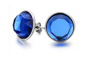 Mens Stud Earrings Round Blue Glass Ball Stud Earrings for Women