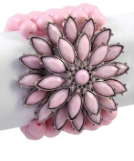 Pink Flower Bracelet Pink Adult Stretch Silver Plated Bridesmaid Jewellery Nicely Boxed