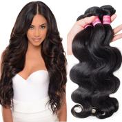 Haorui Virgin Brazilian Body Wave Weft 3 Bundles 25cm - 70cm 100% Cheap Unprocessed Human Hair Extensions Natural Colour (100+/-5g)/pc