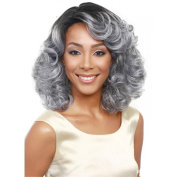YX Silver Grey Short Curly Hair wig for Black Women Synthetic Wig 38CM