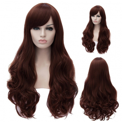Women's 70cm Long Wavy With Bangs Synthetic Cosplay Full Wig (Red Brown)