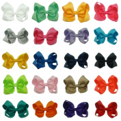 CN Grosgrain Ribbon Girls Solid Hair Bow 10cm Hair Bows for Hair Pack of 20