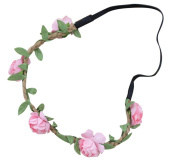 AM CLOTHES Womens Flower Garland Vacation Festival Hair Wreath Headband Pink