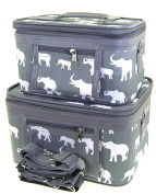 Elephant Print 2 Piece Train Case Cosmetic Set Travel Toiletry Luggage