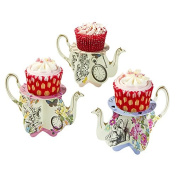 Talking Tables Truly Alice Tea Party Teapot Cupcake Stands (6 Pack), Multicolor
