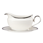 Lenox Soiltaire Sauce Boat and Stand, White